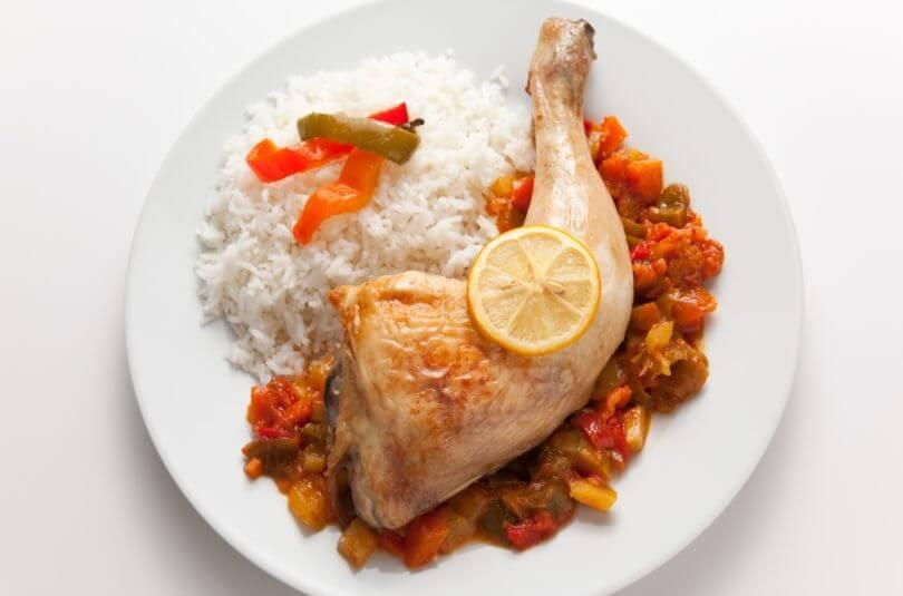 Ratatouille, riz et poulet