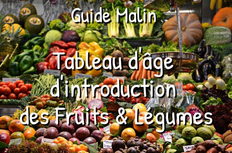 Guide : Tableau d'âge d'introduction des Fruits & Légumes dans l'alimentation des bébés