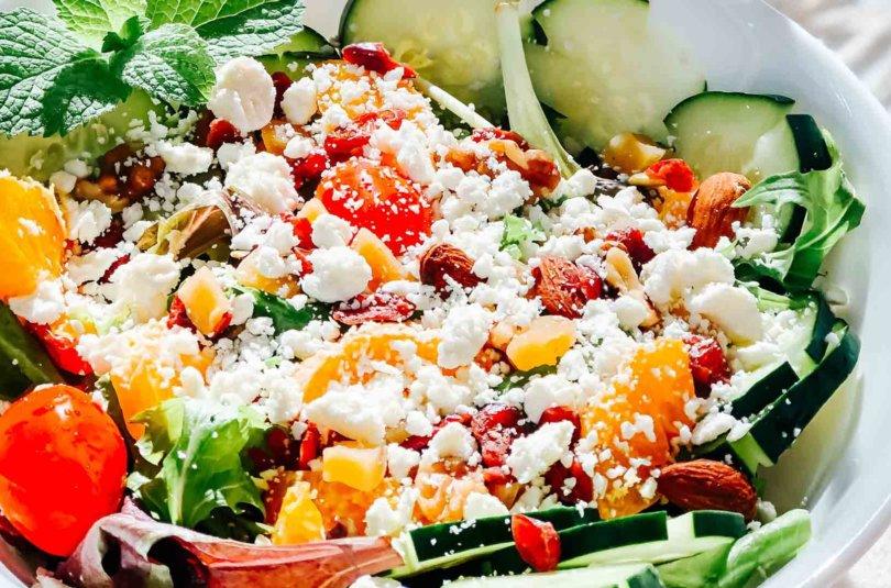 Salade de melon, concombre, féta et menthe
